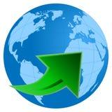 Tierra del planeta con la flecha verde Foto de archivo libre de regalías