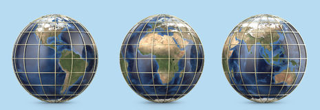 Tierra del planeta con la malla del oro Mostrar América, continente de Europa, África, Asia, Australia Imágenes de archivo libres de regalías