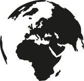 Tierra del planeta con la silueta continente stock de ilustración