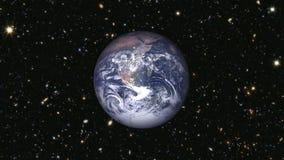 Tierra del planeta con las estrellas y las galaxias ilustración del vector