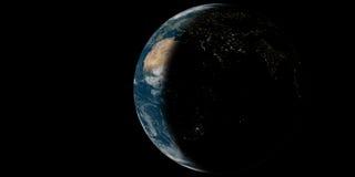 Tierra del planeta con las luces imagen de archivo libre de regalías