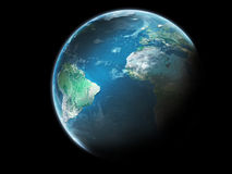 Tierra del planeta con las nubes fotografía de archivo libre de regalías