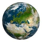 Tierra del planeta con las nubes Europa, parte de África y de Asia Imagen de archivo libre de regalías