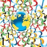 Tierra del planeta con los corazones en colores olímpicos alrededor Imagenes de archivo