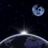 Tierra del planeta con luz del sol que aparece y la luna stock de ilustración