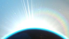 Tierra del planeta con noche y salida del sol stock de ilustración