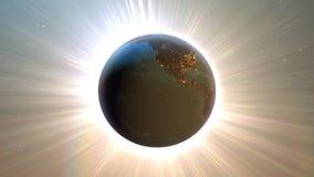 Tierra del planeta con noche y salida del sol ilustración del vector