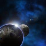 Tierra del planeta con salida del sol detrás stock de ilustración