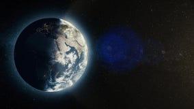 Tierra del planeta con salida del sol en el espacio, sol naciente sobre la tierra Planeta de la tierra ilustración del vector