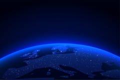 Tierra del planeta con una luz espectacular Horizonte azul de la tierra y de la luz del globo del fondo del espacio Ilustración d ilustración del vector
