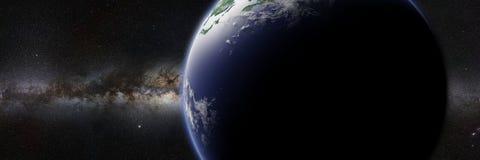 Tierra del planeta delante de la galaxia brillante de la vía láctea Imagenes de archivo