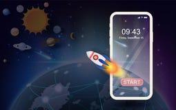 Tierra del planeta del ejemplo con la tecnología de la luz de la aurora para el inicio del cohete de la tecnología de la red de c ilustración del vector