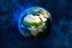 Tierra del planeta en espacio África, parte de Europa y de Asia ilustración del vector