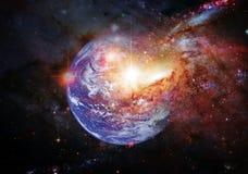 Tierra del planeta en espacio exterior Elementos de esta imagen equipados por la NASA stock de ilustración