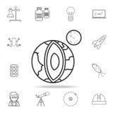 tierra del planeta en icono de la sección Sistema detallado de ciencia y de aprender iconos del esquema Diseño gráfico de la cali stock de ilustración