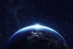 Tierra del planeta en la noche Imágenes de archivo libres de regalías