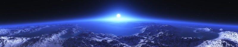 Tierra del planeta en la salida del sol de la órbita stock de ilustración