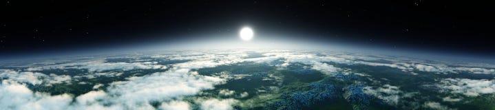 Tierra del planeta en la salida del sol de la órbita ilustración del vector
