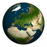 Tierra del planeta Europa, parte de Asia y de África Imagen de archivo