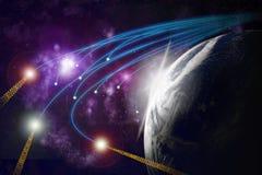 Tierra del planeta, fibras ópticas, transmiss de los datos stock de ilustración