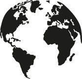 Tierra del planeta del globo con la silueta de los continentes ilustración del vector