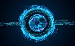 Tierra del planeta del holograma 3d Imagen de archivo libre de regalías