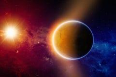 Tierra del planeta que brilla intensamente Imagenes de archivo
