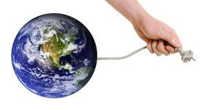 Tierra del planeta que busca para las nuevas fuentes de energía Foto de archivo libre de regalías