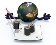 Tierra del planeta que come el sushi con los palillos Imagenes de archivo