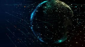 Tierra del planeta que gira en red cibernética futurista global stock de ilustración