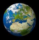 Tierra del planeta que ofrece Europa y la unión europea Fotografía de archivo libre de regalías