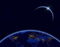 Tierra del planeta y eclipse solar en color azul Imagen de archivo