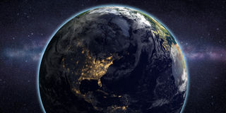 Tierra del planeta y galaxia de la vía láctea en espacio libre illustration