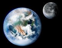 Tierra del planeta y la ilustración del arte de Digitaces de la luna Foto de archivo