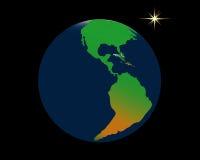 Tierra del planeta y una estrella Fotografía de archivo libre de regalías