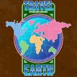 Tierra del viaje, de la exploración y del descubrimiento Continentes estilizados en el fondo del globo libre illustration