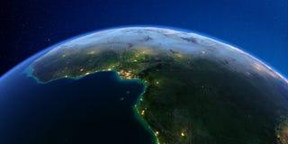 Tierra detallada en la noche ?frica Países del golfo de Guinea