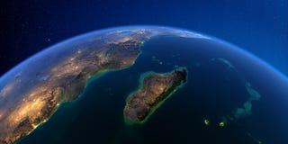 Tierra detallada en la noche ?frica y Madagascar