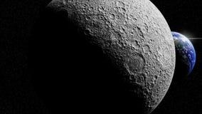 Tierra detrás del lado lejano de la luna ilustración del vector