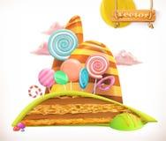 Tierra dulce Torta, magdalena, caramelo Engrana el icono libre illustration