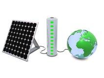 Tierra, el panel solar y batería ilustración del vector