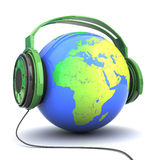 Tierra en auriculares Imagen de archivo