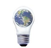 Tierra en bombilla eléctrica Fotografía de archivo libre de regalías