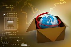 Tierra en caja en fondo del color Imágenes de archivo libres de regalías