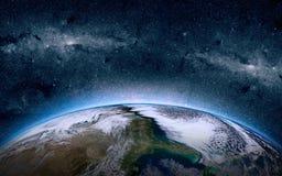 Tierra en el espacio Estrellas en el fondo Lugar para el texto y el infographics Elementos de esta imagen equipados por la NASA Fotos de archivo