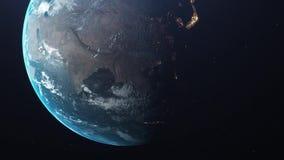 Tierra en el movimiento de Asia del espacio del espacio ilustración del vector