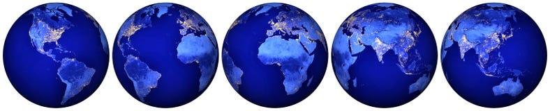 Tierra en la noche - hemisferios del globo Foto de archivo