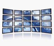 Tierra en las pantallas de la TV Fotos de archivo