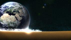 Tierra en un fondo de un desierto muerto Concepto ambiental Energ?a del ahorro Animaci?n abstracta del lazo Desierto muerto libre illustration