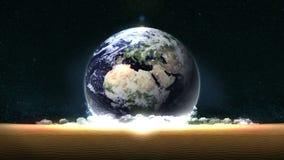 Tierra en un fondo de un desierto muerto Concepto ambiental Energ?a del ahorro Animaci?n abstracta del lazo Desierto muerto stock de ilustración